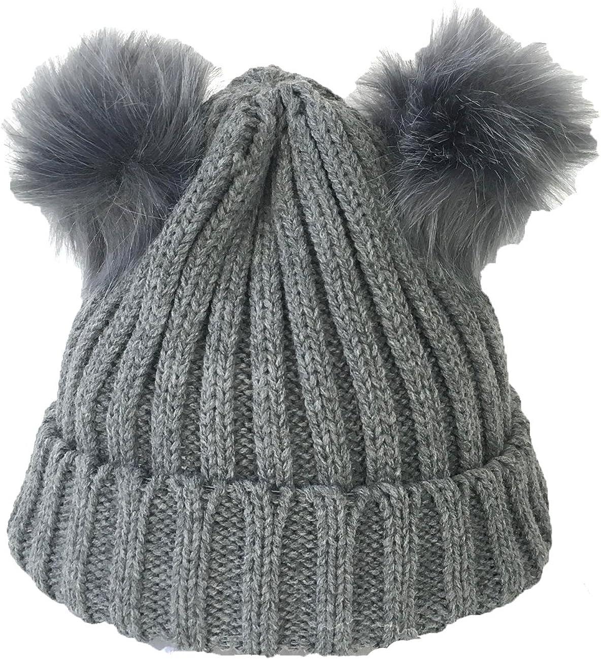 Fashion Culture Women's Knit Double Pom Pom Beanie Hat, Grey