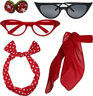 Retro 1950s Polka Dot Style Scarf Glasses Headband and Earrings Costume Accessories Set