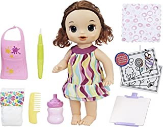 Baby Alive Finger Paint Baby: Brown Hair Doll, Drinks & Wets, Doll Accessories Includes Art Supplies, Bottle and Diaper, G...