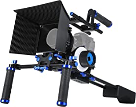 MARSRE DSLR Shoulder Rig Film Movie Video Making System Kit with Follow Focus, Matte Box, Pro C-shape Cage Mounting Bracket and Top Handle For Canon Nikon Sony and Other DSLR Cameras Video Camcorders