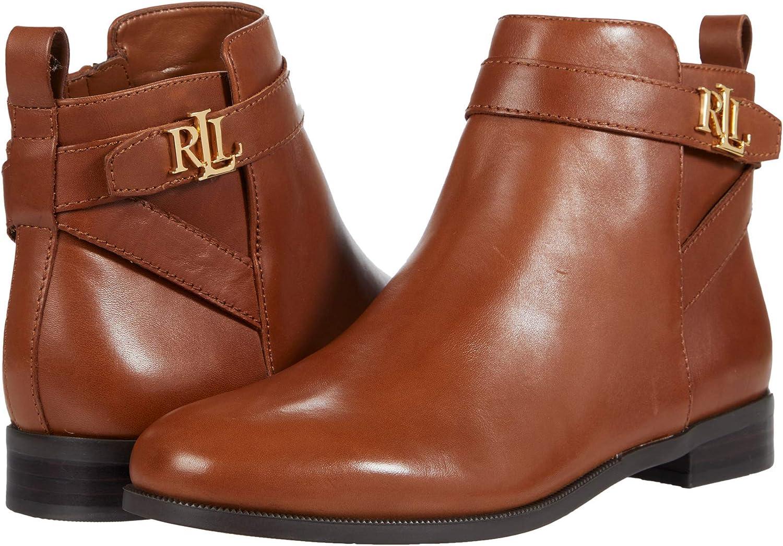 Lauren Ralph Lauren Women's Mid Calf Boot, DEEP Saddle TAN, 9