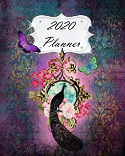 2020 Planner: Peacock Daily, Weekly & Monthly Calendars | January through December | Purple Flowers Floral Butterflies