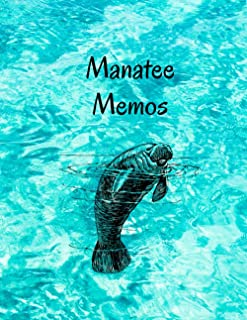 "Manatee Memos: Cute Animal Sketchbook, 120 Blank White Pages, Handy Larger Size (8.5""x11""), High Quality matte cover. Idea..."