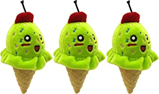 PetSport Tiny Tots Foodies Mint Ice Cream Plush Dog Toy with Squeaker, 5 Inch (3 Pack)