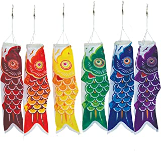 In the Breeze Koi Fish Windsock, 12-Inch, Red/Orange/Yellow/Green/Blue/Purple (6 pieces)