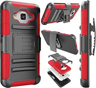 Njjex Galaxy Sky Case, For J3/J3 V Case, Galaxy Sol Case, [Ngate] Armor Shock Swivel Locking Holster Belt Clip Kickstand Defender Carrying Cover For Samsung Galaxy Amp Prime/Express Prime [Red]