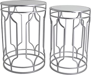 Round End Table Set - Silver End Tables with Mirrored Tops - Nesting Round Accent Tables - Silver and Mirrored Metal Side Tab