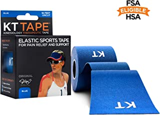 KT TAPE Original Cotton Elastic Kinesiology Therapeutic Sports Tape, 16 Ft Uncut Roll, Blue, Latex Free, Breathable, Pro & Olympic Choice