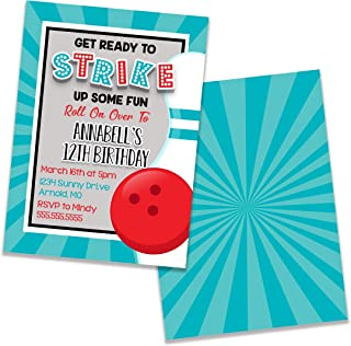 Bowling Birthday Party Invitation, 5 inches by 7 inches, Envelopes Included with Printed Option, Printed or Digital DIY Party Supplies Invitation Cards