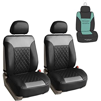 FH Group PU089102 Deluxe Faux Leather Diamond Pattern Car Seat Cushions (Gray) Front Set with Gift - Universal Fit for Cars Trucks and SUVs
