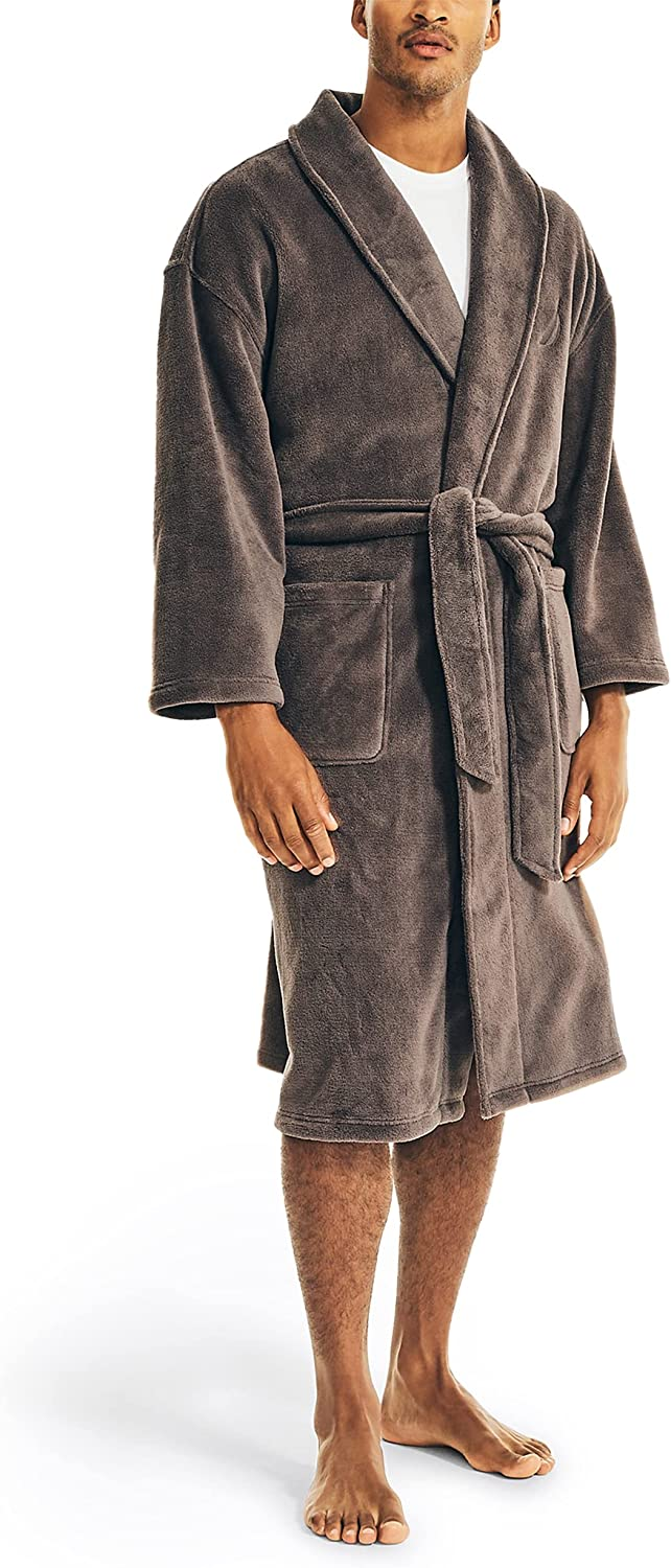 Nautica Men's Solid Shawl Robe,Carbon ,One Size at  Men's Clothing store