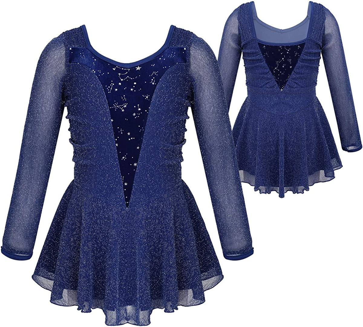 YOOJIA Kids Girls Shiny Long Sleeves Splice Figure Ice Skating Leotard Dress Ballet Dance Gymnastics Activewear