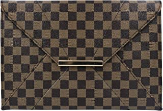 Made in USA,Luxurious Classic Plaid Clutch Purses Elegant Unique Evening Bag for Women with Wrist Strap,sj0952