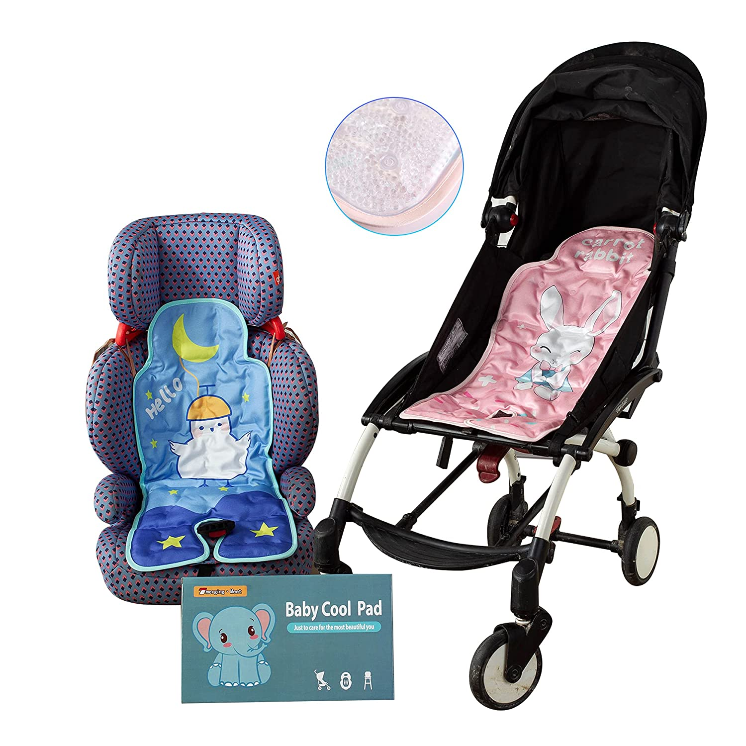 Baby Stroller Cool pad Dining Chair ice Bead Cushion no Need to refrigerate Keep at 25℃ Safety seat Cooling Cushion Lining Support Infants and Toddlers Quick and Easy Installation (Pink)