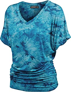 Women's Short Sleeve Crew Neck/V Neck Tie-Dye Ombre Dolman Top - Made in USA
