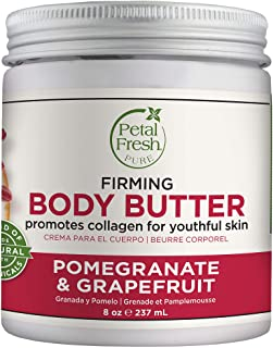 Petal Fresh Pure Firming Pomegranate & Grapefruit Body Butter, Organic Coconut Oil, Argan Oil, Shea Butter, Promotes Colla...