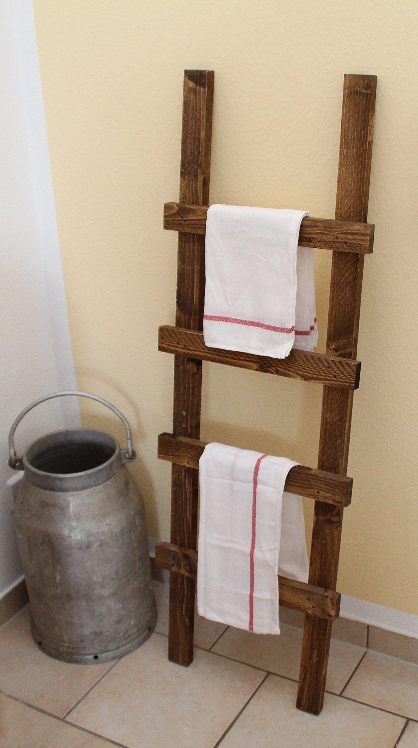 Uncle Joes Deko Escalera toallero, Vintage, Shabby Chic Madera 118 x 39 x 5 cm, Color marrón Oscuro: Amazon.es: Hogar