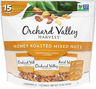 ORCHARD VALLEY HARVEST Honey Roasted Mixed Nuts, 1 oz (Pack of 15), Non-GMO, No Artificial Ingredients