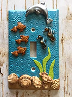 Handmade Light Switch Plate or Outlet Cover Sculpture 3D Under the Sea Theme Dolphin Seahorse Blue Turquoise Children Decor Polymer Clay
