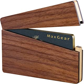 MaxGear Wood Business Card Holder Wood Business Card Display Slim Business Card Wallet Card Carrier with Magnetic Closure - Walnut