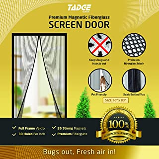 Magnetic Mesh Bug Screen Door - Strong Magnets, Premium Fiberglass Curtain - Full Frame Magnets with Self-Seal Easy Open and Close Design | Anti Bug & Insect | Pet Friendly - 36x83