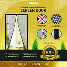 Magnetic Mesh Bug Screen Door - Strong Magnets, Premium Fiberglass Curtain - Full Frame Magnets with Self-Seal Easy Open and Close Design   Anti Bug & Insect   Pet Friendly - 36x83