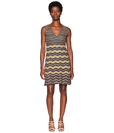M Missoni Lurex Zigzag V-Neck Dress (Navy) Women