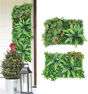Jroyseter 2pcs Artificielle Panneaux végétaux Verdure Panneau Mural Tapis de Gazon Mur Verdure Décorations arrière-Plan cr...