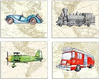 Car Fire Truck Train Plane on Map Set Prints 8x10