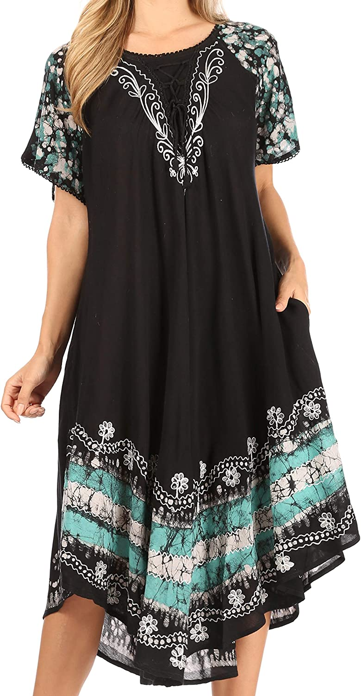 Sakkas Elisha Mid Length Batik Caftan Embroidered Cap Sleeves Floral Pattern