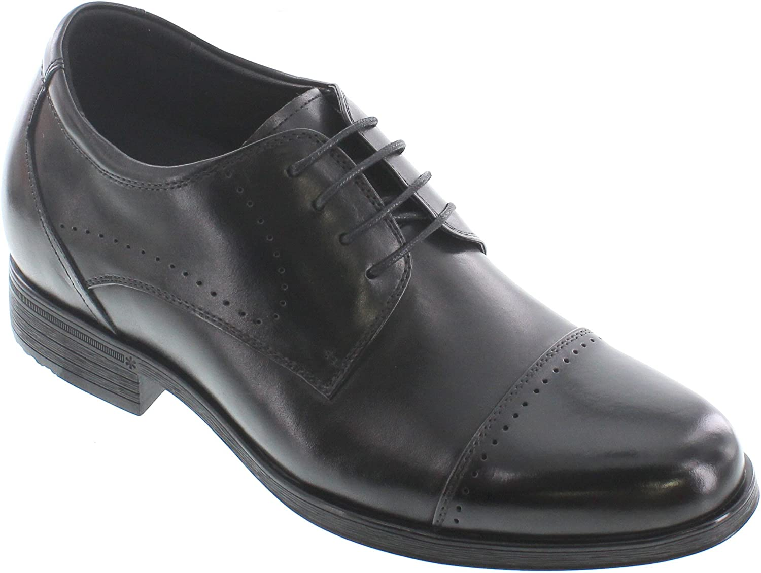 CALTO - G1201-3 Inches Taller - Height Increasing Elevator shoes - Black Leather Lace-up Dress shoes