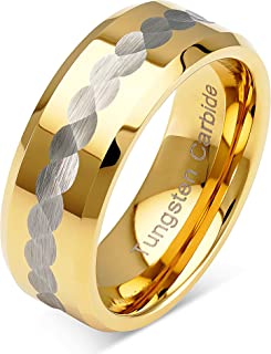 100S JEWELRY Tungsten Rings for Men Wedding Bands Two Tone Gold Silver Hammer Finish..