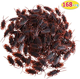 Max Fun 168PCS Realistic Roaches Trick Joke Toys Scary Insects Realistic Plastic Bugs Novelty Cockroach for Halloween Party Favors