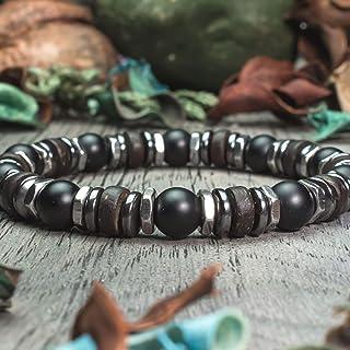 270f803a86 Bracelet Homme Taille 19-20cm perles Ø 8mm Pierre naturelle Agate/Onyx noir  Mat