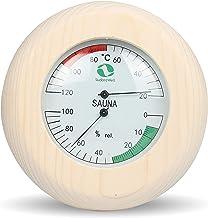 SudoreWell® Thermomètre et hydromètre de sauna avec cadre en bois Ø 145 mm