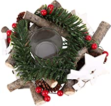 FRCOLOR Christmas Advent Wreath with Pine Cone Berry Xmas Candle Ring Holdiday Traditions Advent Wreath Tea Light Candle H...