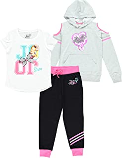 JoJo Siwa Clothing Set, Graphic Cold Shoulder Hoodie, Top and Legging, 3-Piece Outfit Set - Girls Sizes 4-16