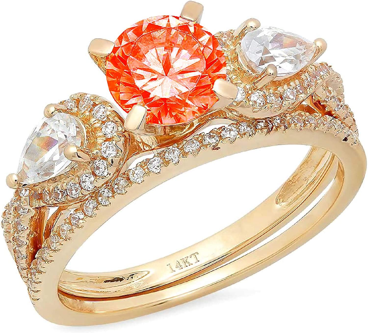 1.97ct Round Pear Cut Solitaire 3 stone With Accent Red Simulated Diamond Designer Statement Classic Ring Band Set Real Solid 14k Yellow Gold