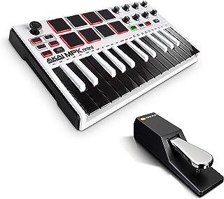 AKAI Professional MPK Mini MKII LE White + M-Audio SP-2 - Teclado Controlador MIDI USB Portátil con 25 Teclas, 8 Pads MPC, 8 potenciómetros, Joystick + Pedal de sostenido universal de estilo piano