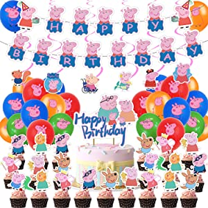 70 Pcs Peppa Pig Birthday Party Supplies for Kids Peppa Pig Party Decorations with Peppa Pig Banner,6 Hanging Swirls Party Decorations,24 Peppa Pig Balloons,1 peppa Pig Cake Topper,24 Peppa Pig Cupcake Toppers