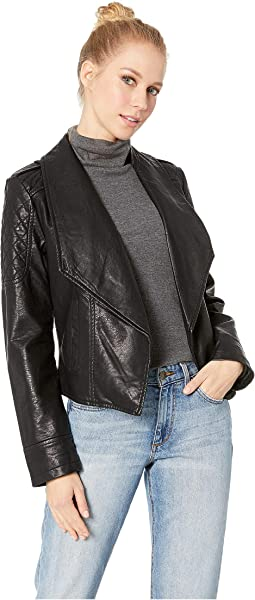 Take The 101 Drape Front Rippled Vegan Leather Jacket