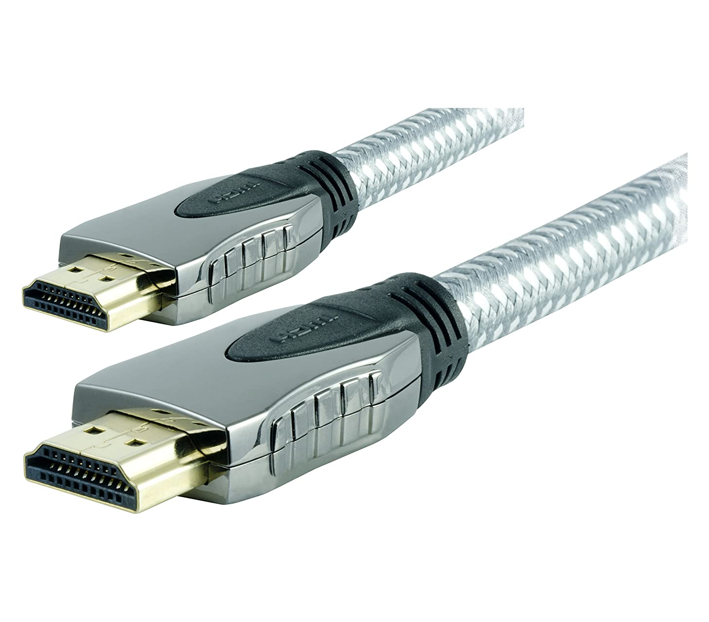 GE 12 ft. UltraPro High Speed HDMI Cable with Ethernet, Braided, 1080P Full HD, 4K Ultra HD, 3D Ready, 87675