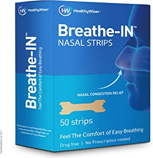 Breathe-IN™ Nasal Strips – Drug-Free Nasal Congestion Relief & Improved Breathing, Soft & Comfortable, Bloc...