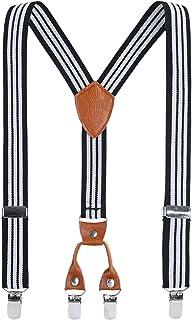 Kinder Klammern Clip auf Hosentr?ger - Getreide Leder Elastisch Einstellbar Mit 4 Clips Y Form Hosentr?ger