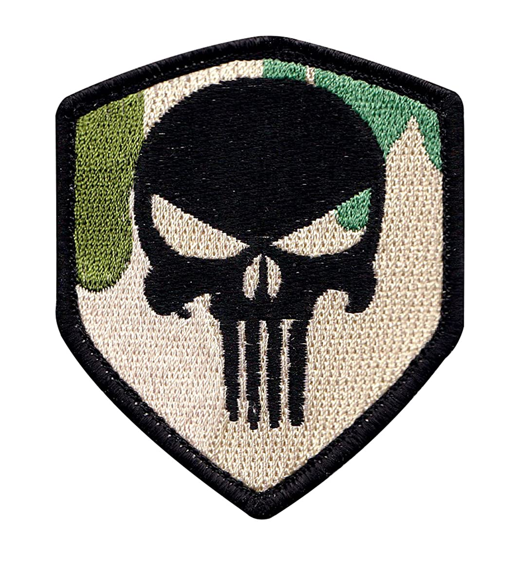 Multicam Punisher Skull Badge Tactical Morale Hook+Loop Patch