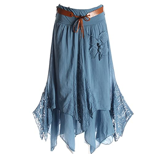 ac1b0a7dd0 Candy Clothing Made Ladies Hi Waisted Cotton Skirt Festival Belted Boho  Gypsy Tiered Asymmetric Hitched Hem