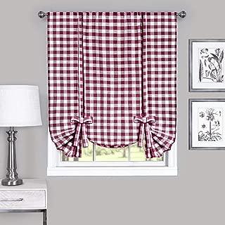 Woven Trends Farmhouse Curtains Kitchen Décor, Buffalo Plaid Valance, Classic Country Plaid Gingham Checkered Design, Farmhouse Décor, Window Curtain Treatments (Burgundy, Tie-Up Shade)