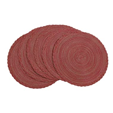 U'Artlines Indoor & Outdoor Round Cotton Placemat, Perfect for Fall, Dinner Parties, BBQs, Christmas Parties and Everyday Use,6pcs placemats, Dark Red