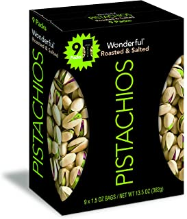 Wonderful Pistachios, Roasted and Salted, 1.5 Ounce Bags (Pack of 9)