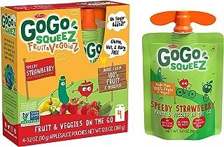 GoGo squeez fruit & veggieZ, Apple Zucchini Strawberry, 3.2 Ounce (4 Pouches), Gluten Free, Vegan Friendly, Unsweetened, Recloseable, BPA Free Pouches